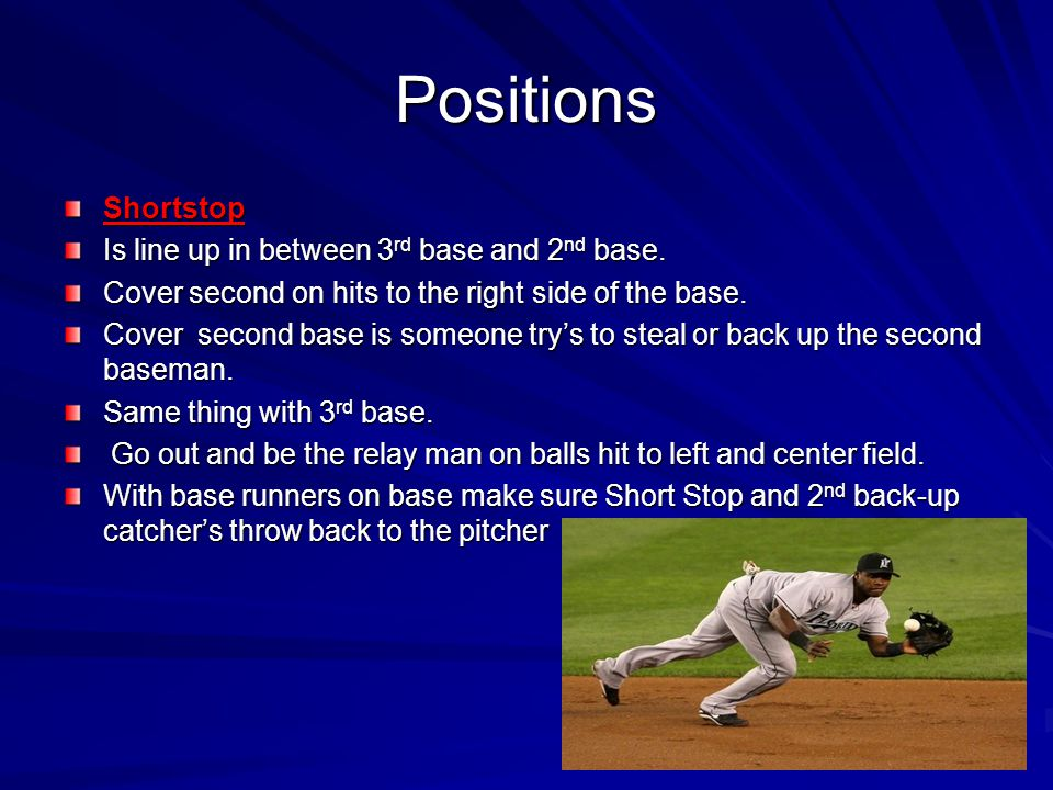 Positions Shortstop Is line up in between 3rd base and 2nd base.