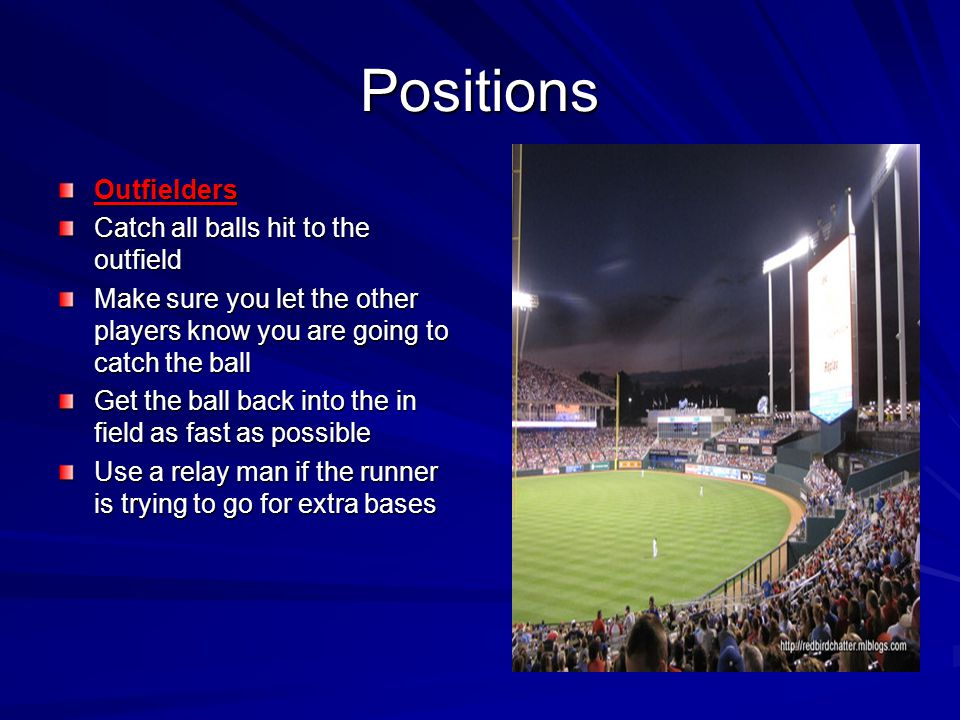 Positions Outfielders Catch all balls hit to the outfield