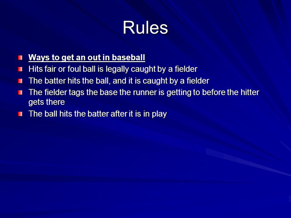 Rules Ways to get an out in baseball