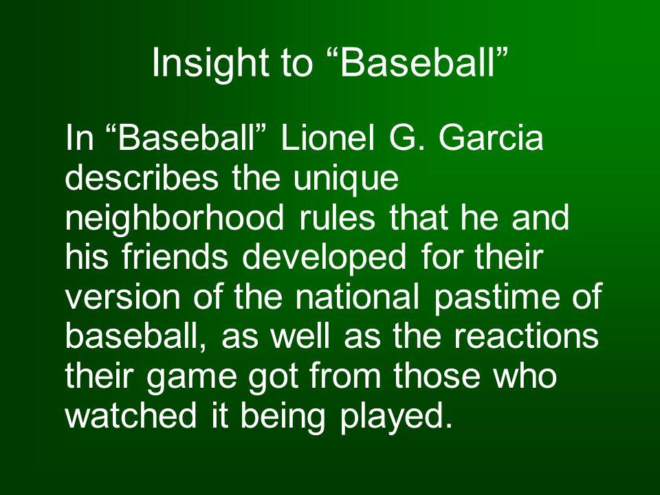 Insight to Baseball