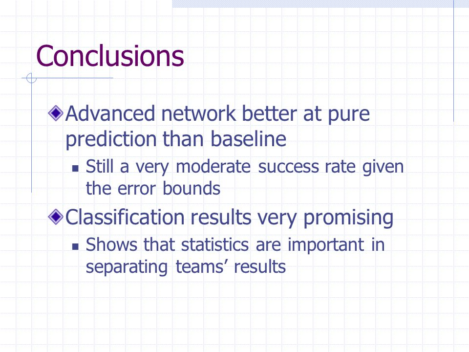 Conclusions Advanced network better at pure prediction than baseline