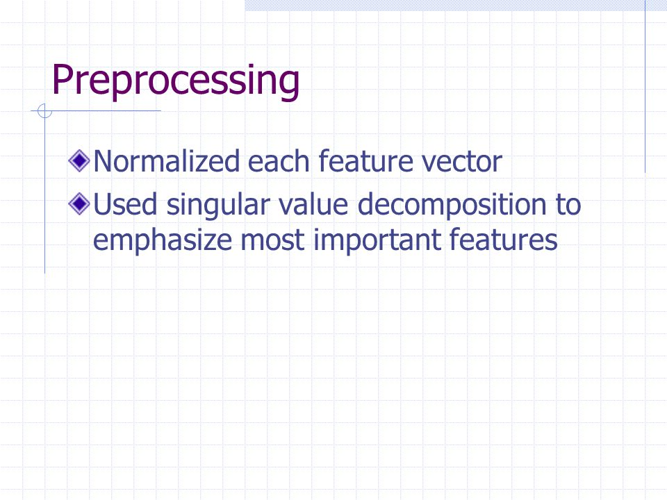 Preprocessing Normalized each feature vector
