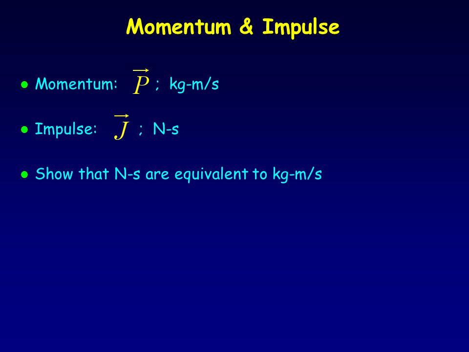 Momentum & Impulse Momentum: ; kg-m/s Impulse: ; N-s