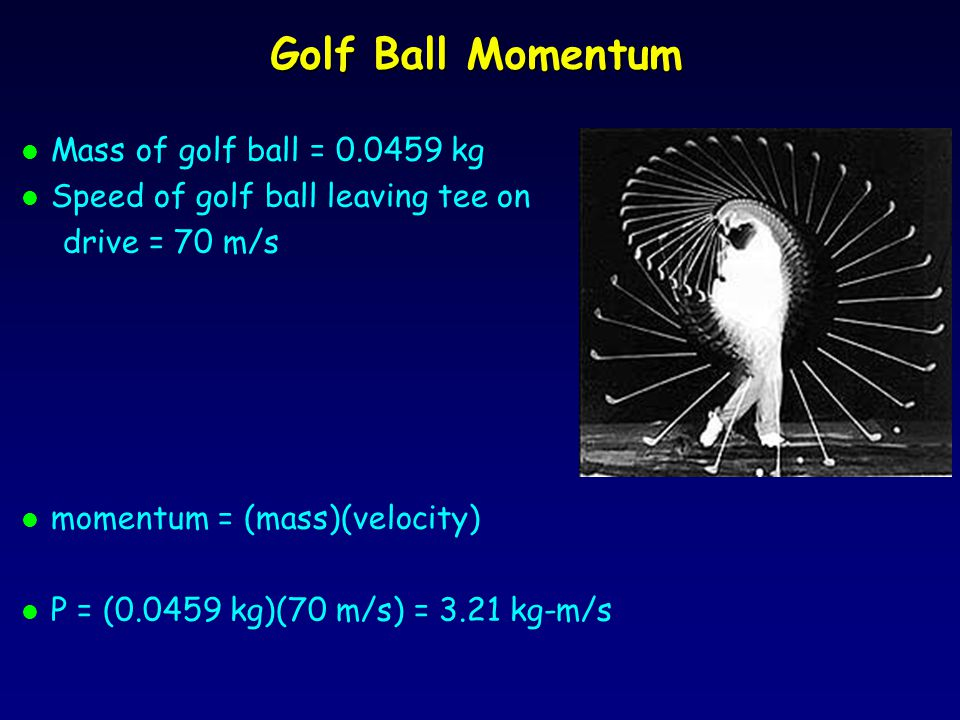 Golf Ball Momentum Mass of golf ball = 0.0459 kg