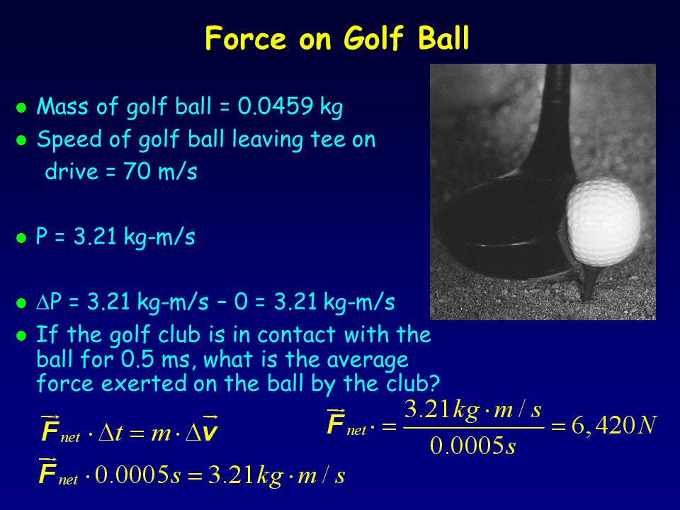 Force on Golf Ball Mass of golf ball = 0.0459 kg