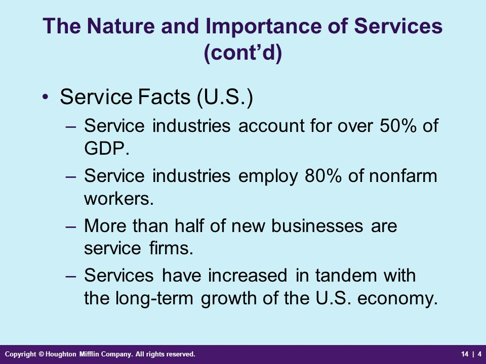 The Nature and Importance of Services (cont'd)