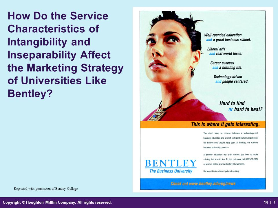 How Do the Service Characteristics of Intangibility and Inseparability Affect the Marketing Strategy of Universities Like Bentley