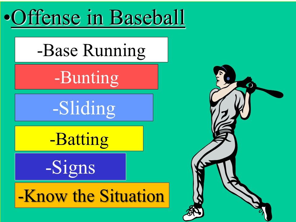 Offense in Baseball -Sliding -Signs -Base Running -Bunting -Batting