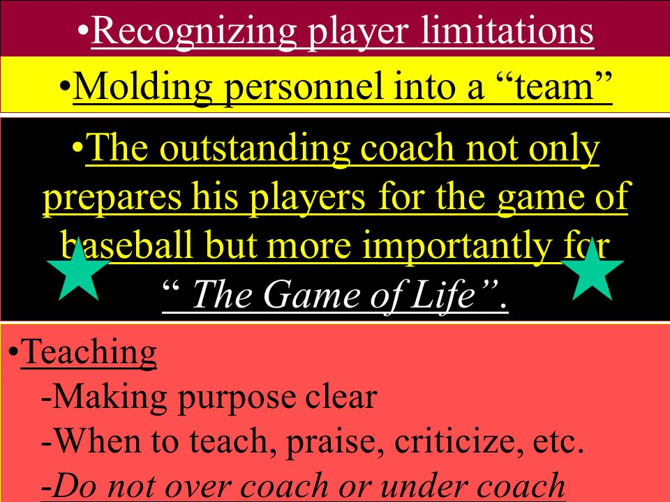 Recognizing player limitations Molding personnel into a team
