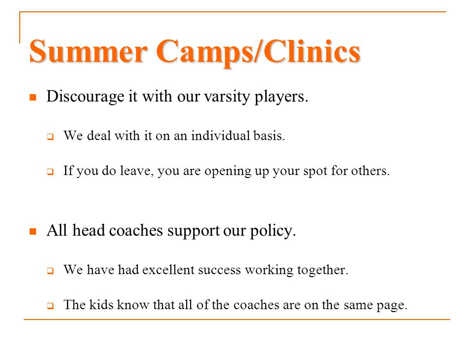 Summer Camps/Clinics Discourage it with our varsity players.