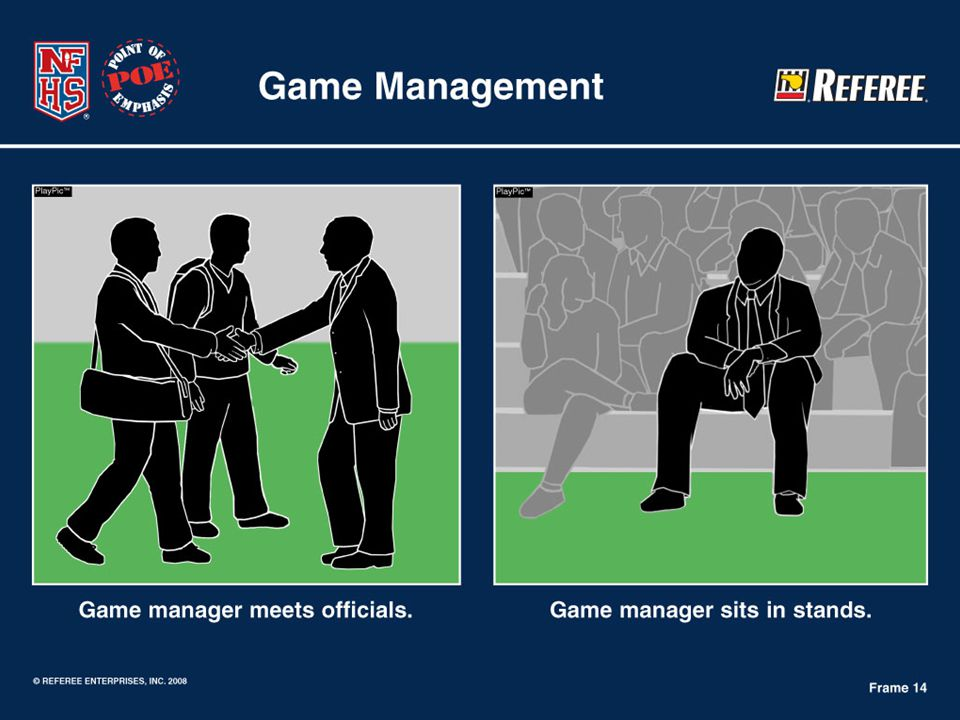 Game Management – Host schools should develop a game management plan
