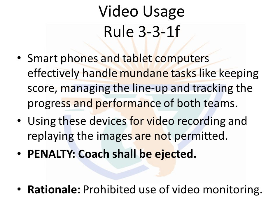 Video Usage Rule 3-3-1f
