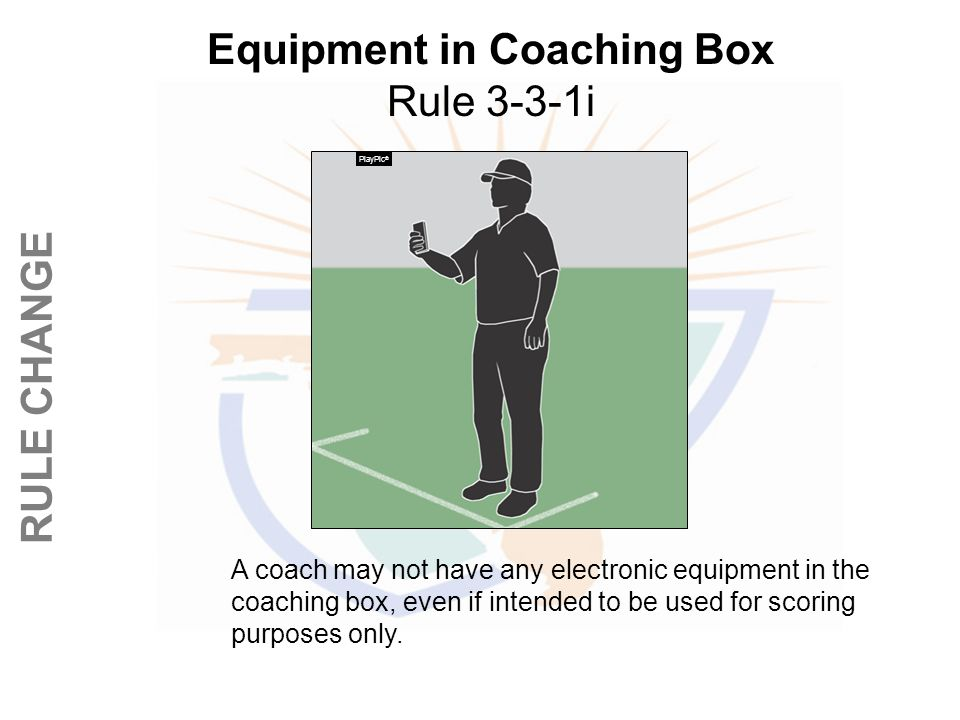 Equipment in Coaching Box Rule 3-3-1i