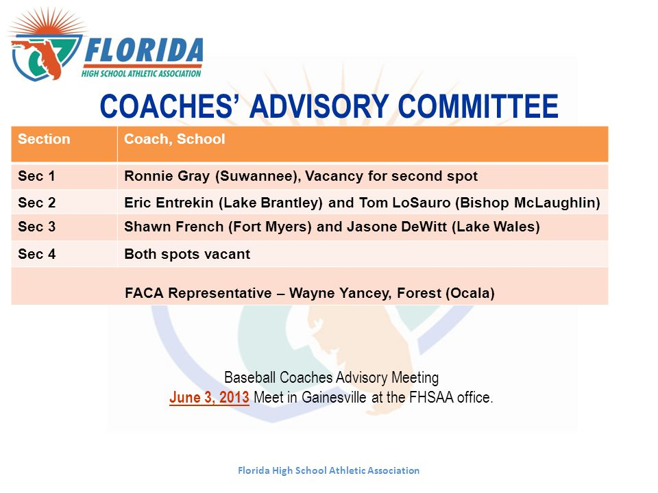 COACHES' ADVISORY COMMITTEE
