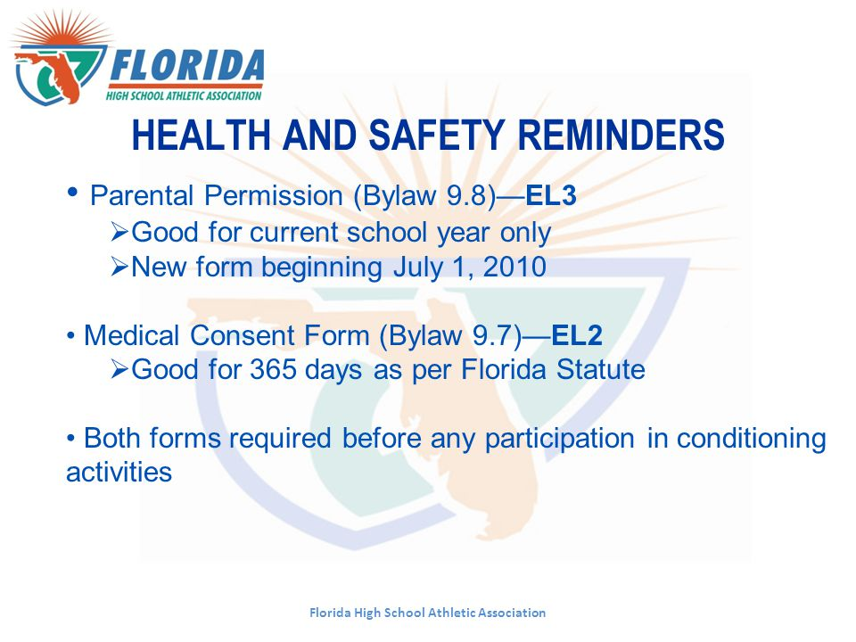 HEALTH AND SAFETY REMINDERS Florida High School Athletic Association