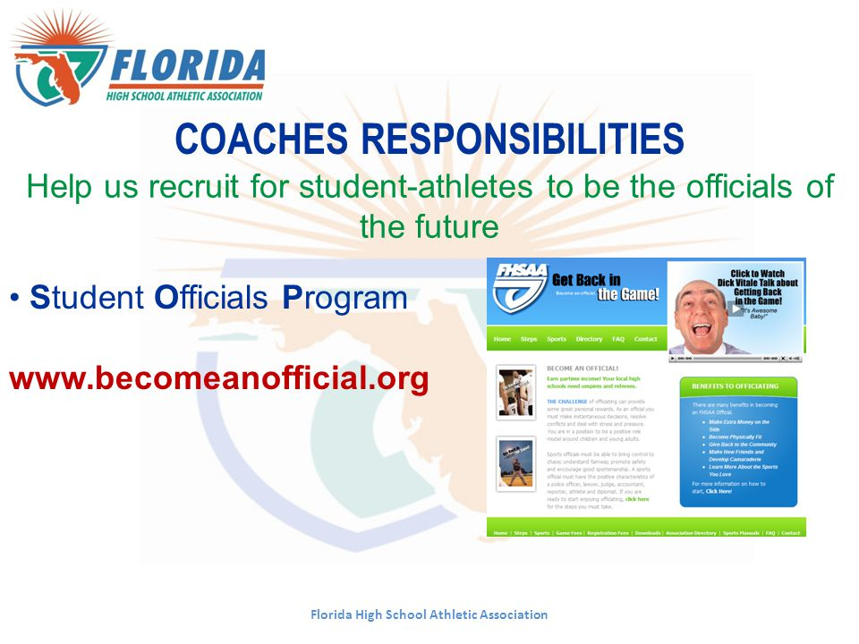 COACHES RESPONSIBILITIES Florida High School Athletic Association