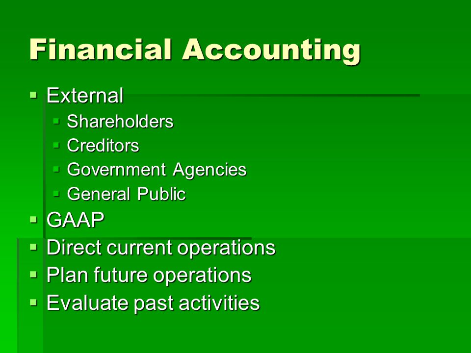 Financial Accounting External GAAP Direct current operations