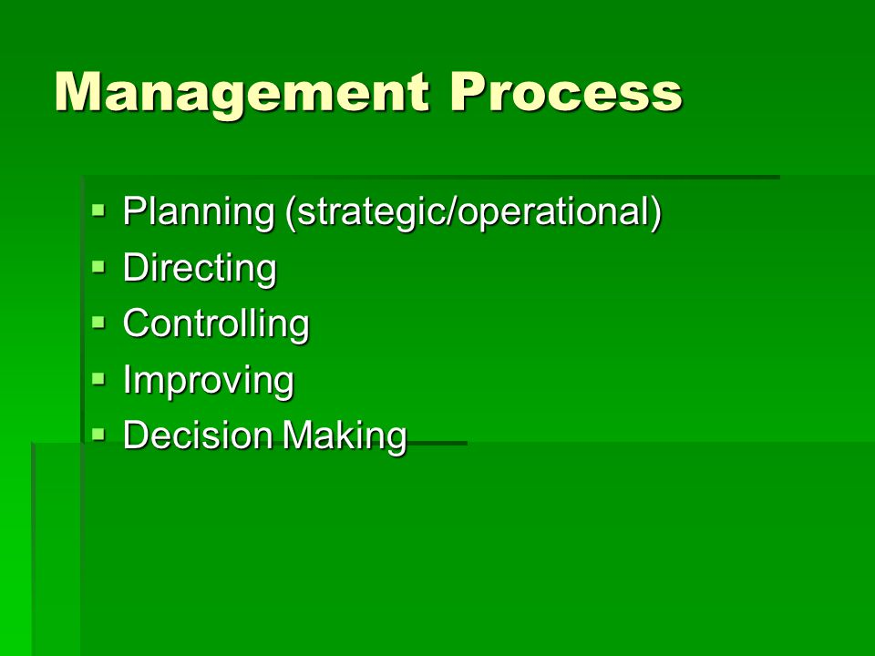 Management Process Planning (strategic/operational) Directing