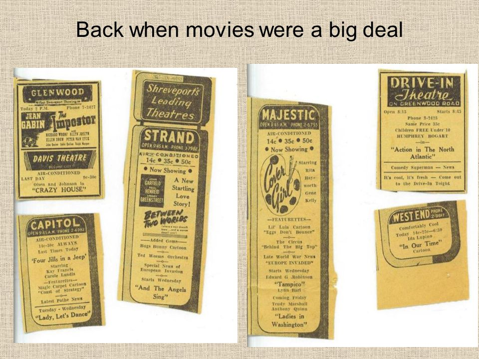 Back when movies were a big deal