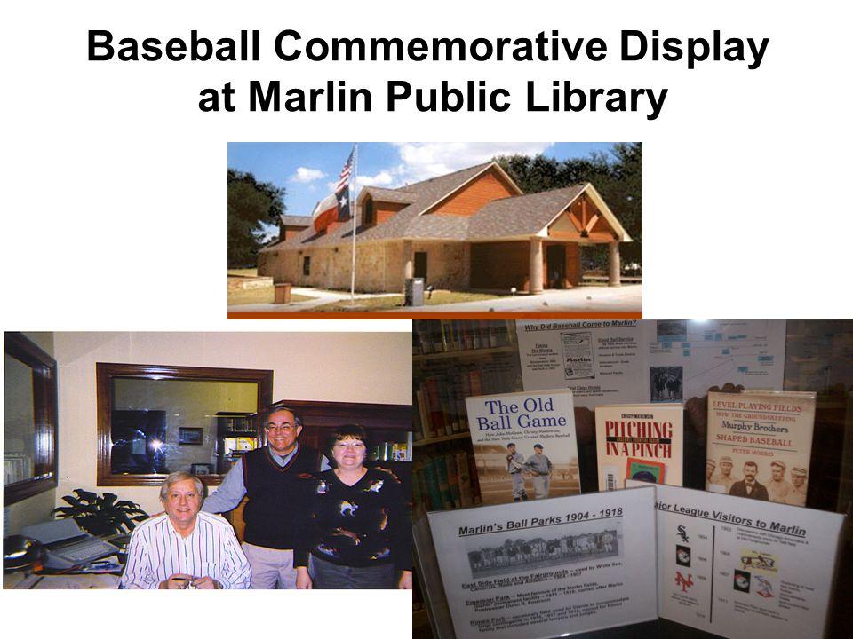 Baseball Commemorative Display at Marlin Public Library