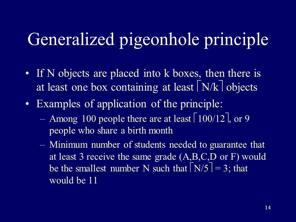 the pigeonhole principle forms Form,isarephrasingofthisstatement pigeonhole principle guarantees that two of them are selected from one of the some pigeonhole contains two integers a and.