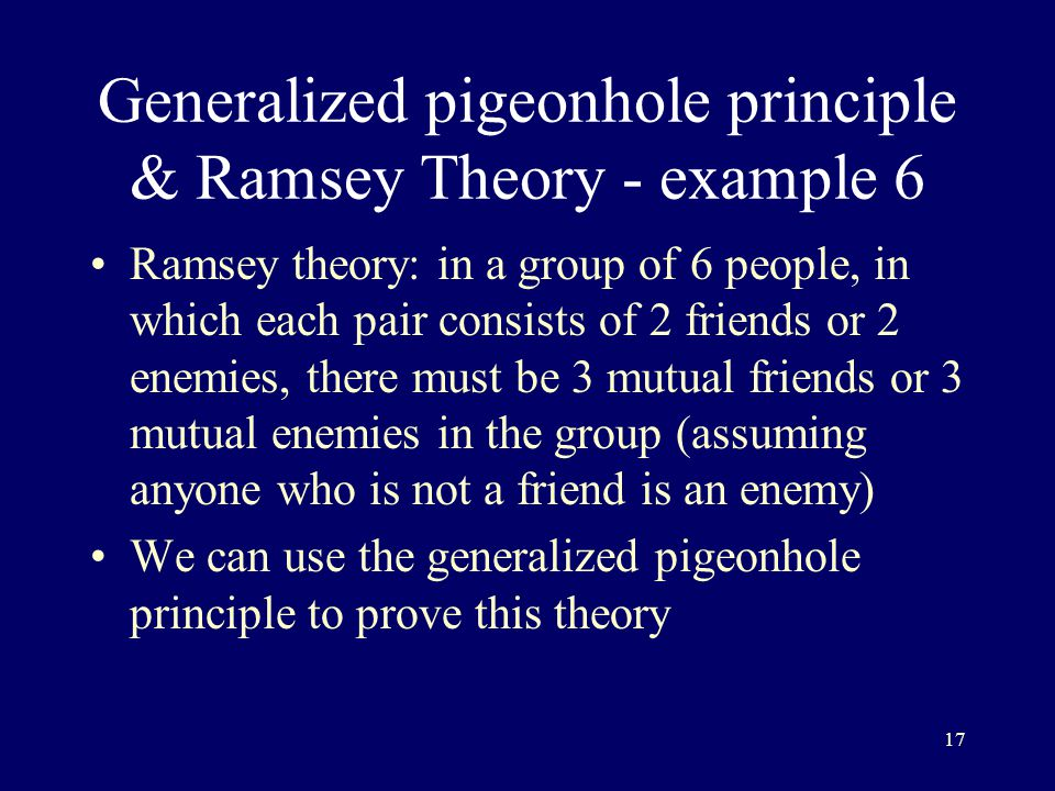 Generalized pigeonhole principle & Ramsey Theory - example 6
