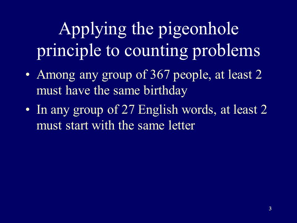 Applying the pigeonhole principle to counting problems