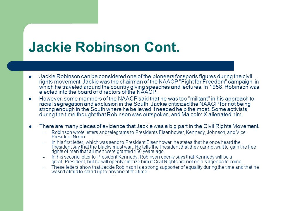 Jackie Robinson Cont.