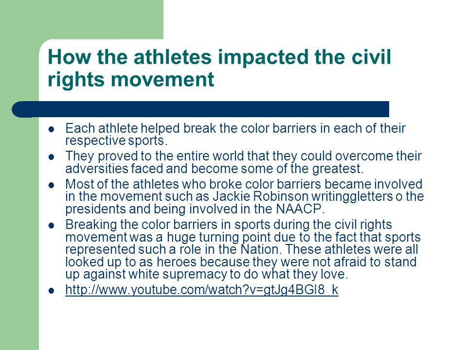 How the athletes impacted the civil rights movement