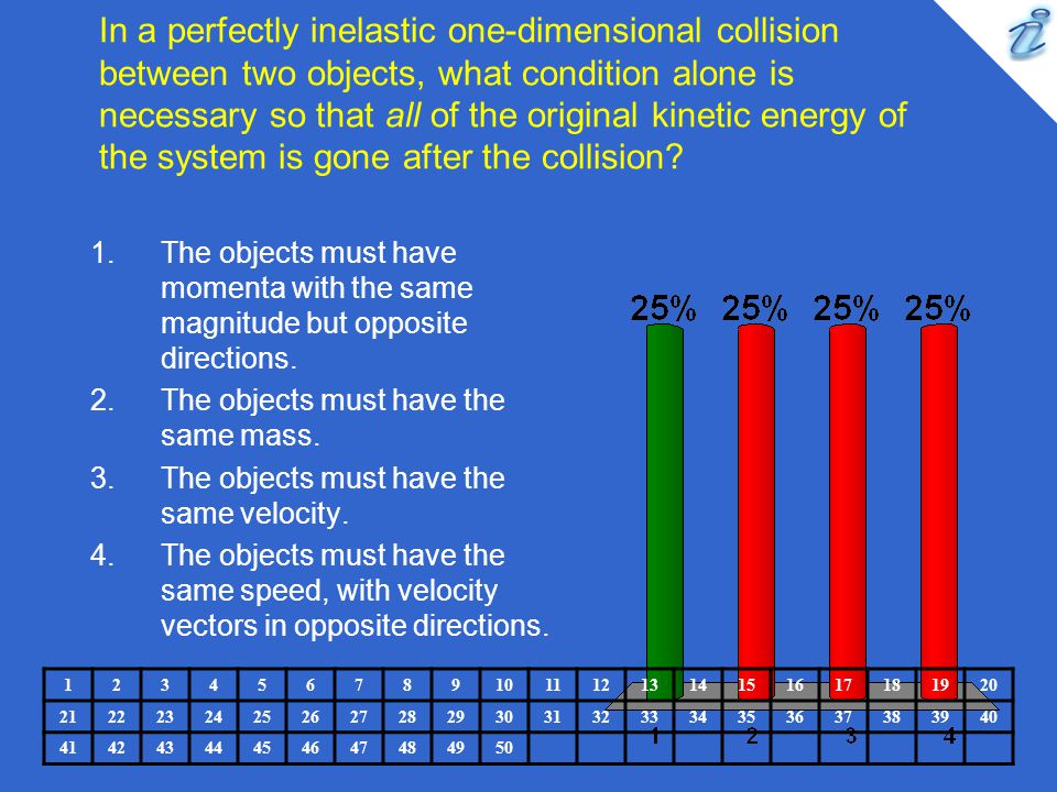 In a perfectly inelastic one-dimensional collision between two objects, what condition alone is necessary so that all of the original kinetic energy of the system is gone after the collision