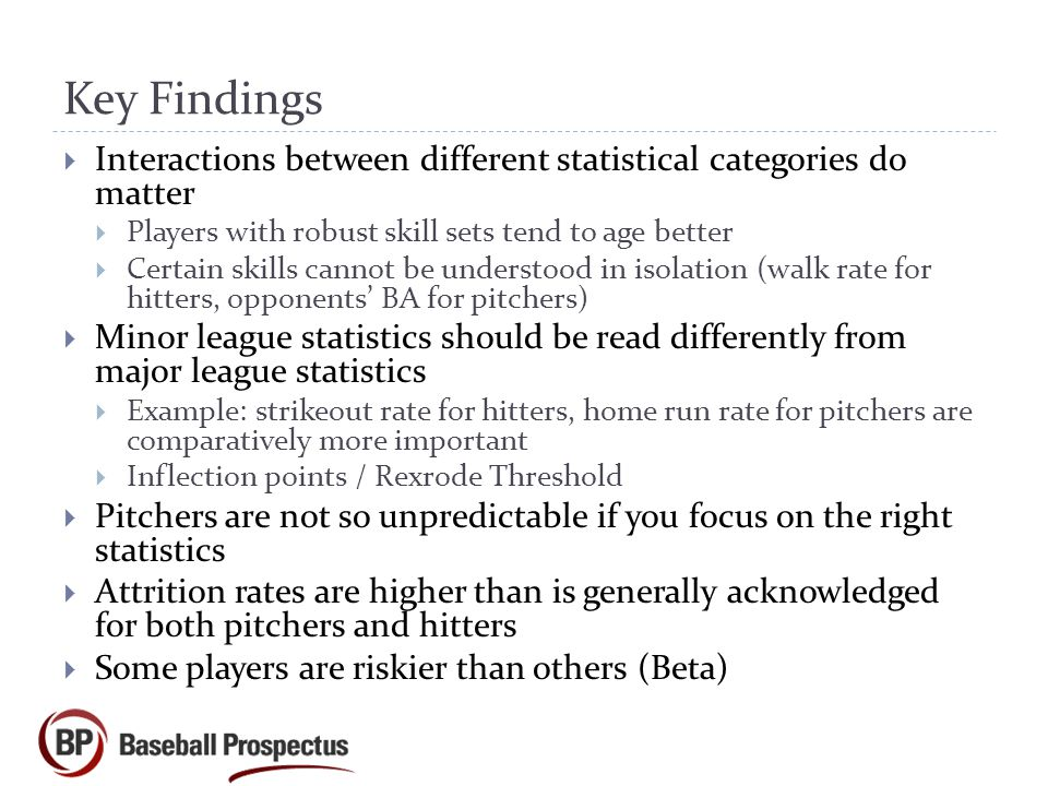Key Findings Interactions between different statistical categories do matter. Players with robust skill sets tend to age better.