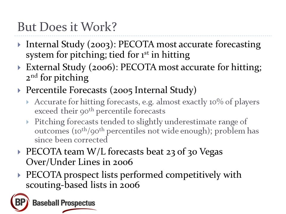 But Does it Work Internal Study (2003): PECOTA most accurate forecasting system for pitching; tied for 1st in hitting.
