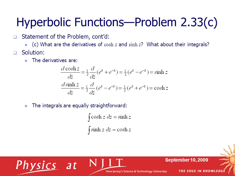Hyperbolic Functions—Problem 2.33(c)