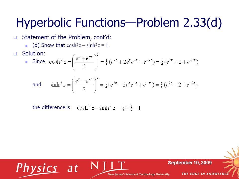 Hyperbolic Functions—Problem 2.33(d)