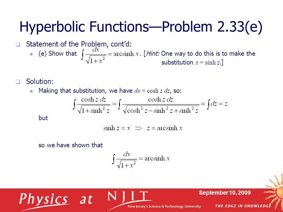 Hyperbolic Functions—Problem 2.33(e)