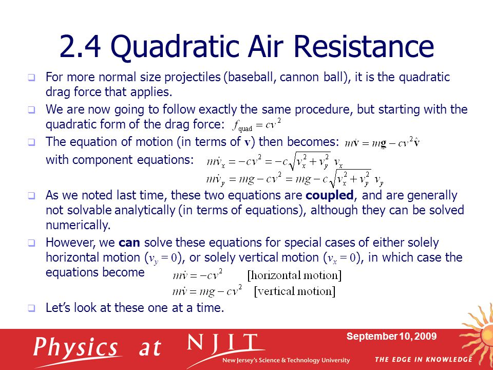 2.4 Quadratic Air Resistance