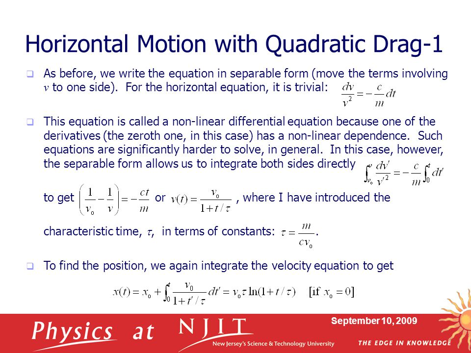 Horizontal Motion with Quadratic Drag-1