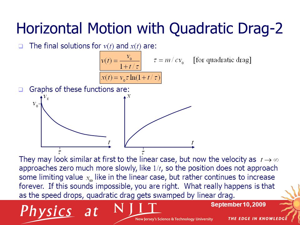 Horizontal Motion with Quadratic Drag-2