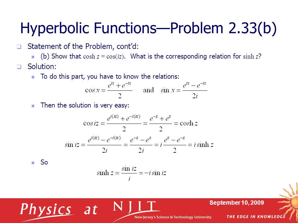 Hyperbolic Functions—Problem 2.33(b)