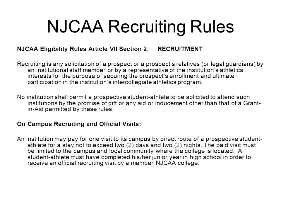 NJCAA Recruiting Rules