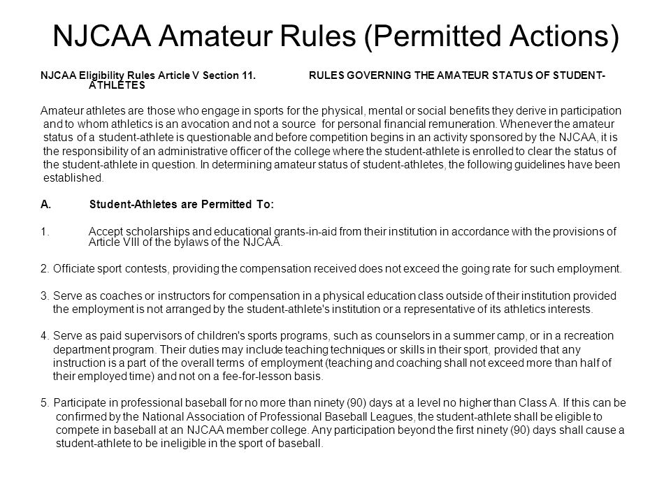 NJCAA Amateur Rules (Permitted Actions)