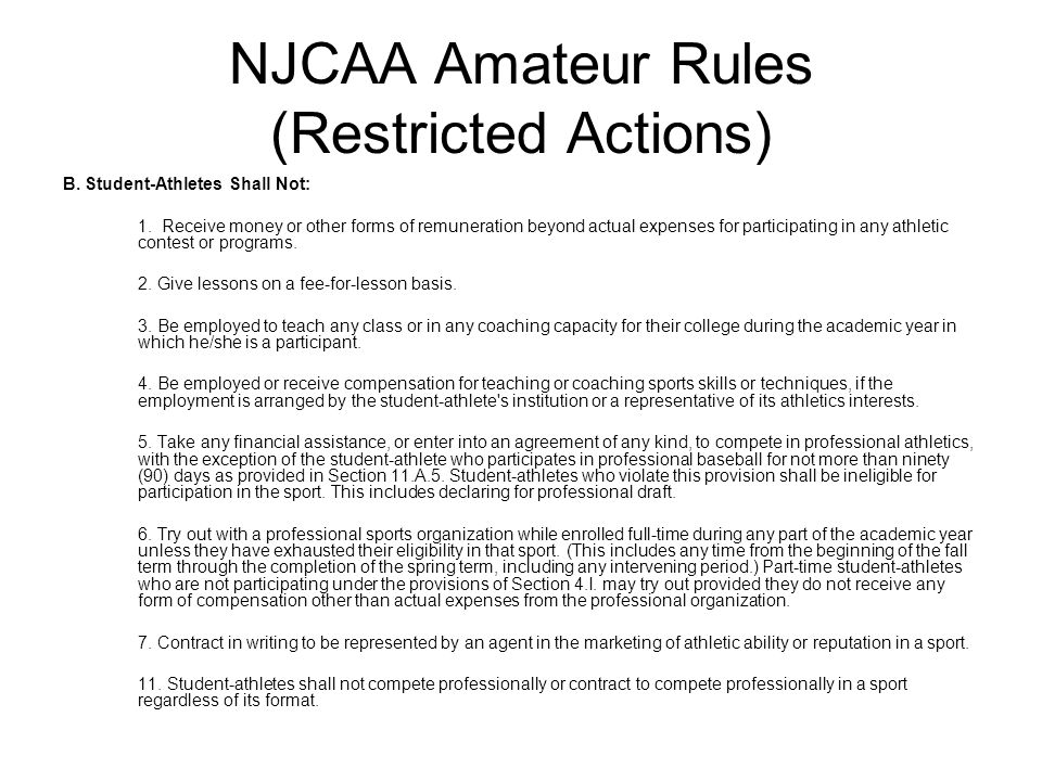 NJCAA Amateur Rules (Restricted Actions)