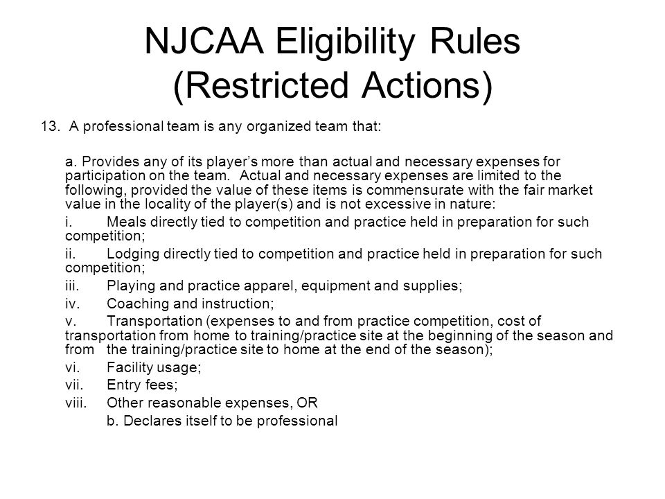 NJCAA Eligibility Rules (Restricted Actions)