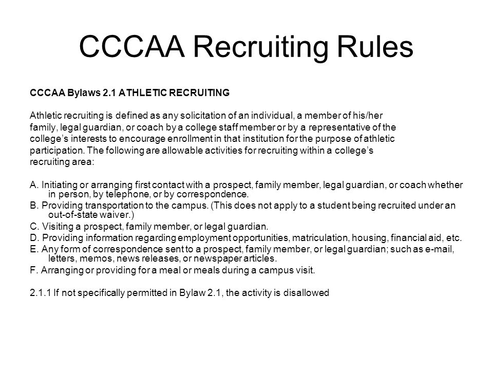 CCCAA Recruiting Rules