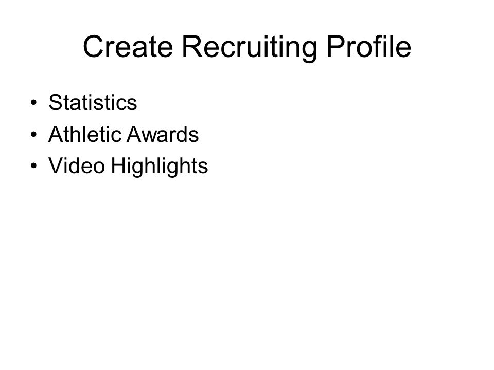 Create Recruiting Profile