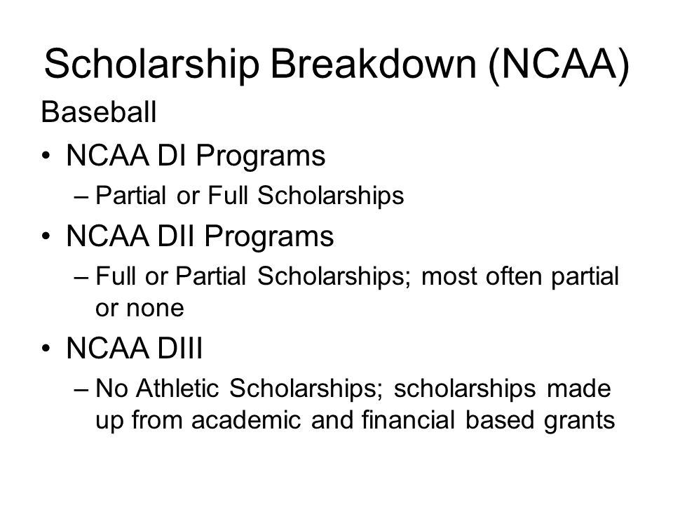 Scholarship Breakdown (NCAA)