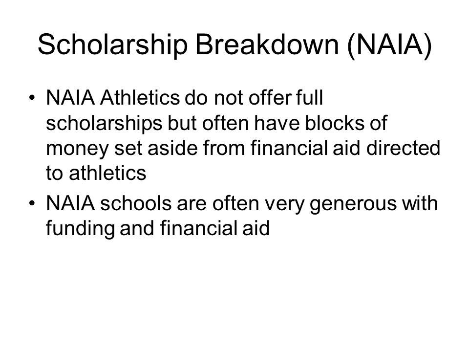 Scholarship Breakdown (NAIA)