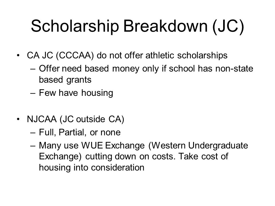 Scholarship Breakdown (JC)
