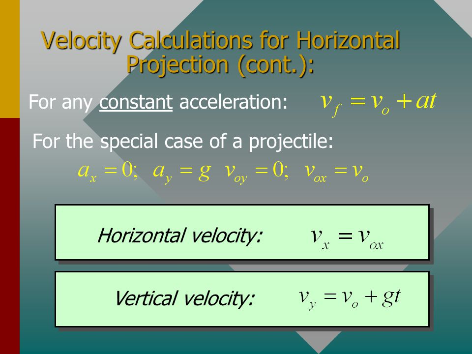 Velocity Calculations for Horizontal Projection (cont.):
