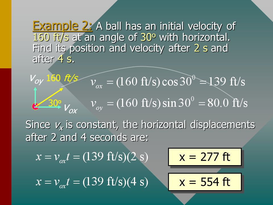 Example 2: A ball has an initial velocity of 160 ft/s at an angle of 30o with horizontal. Find its position and velocity after 2 s and after 4 s.